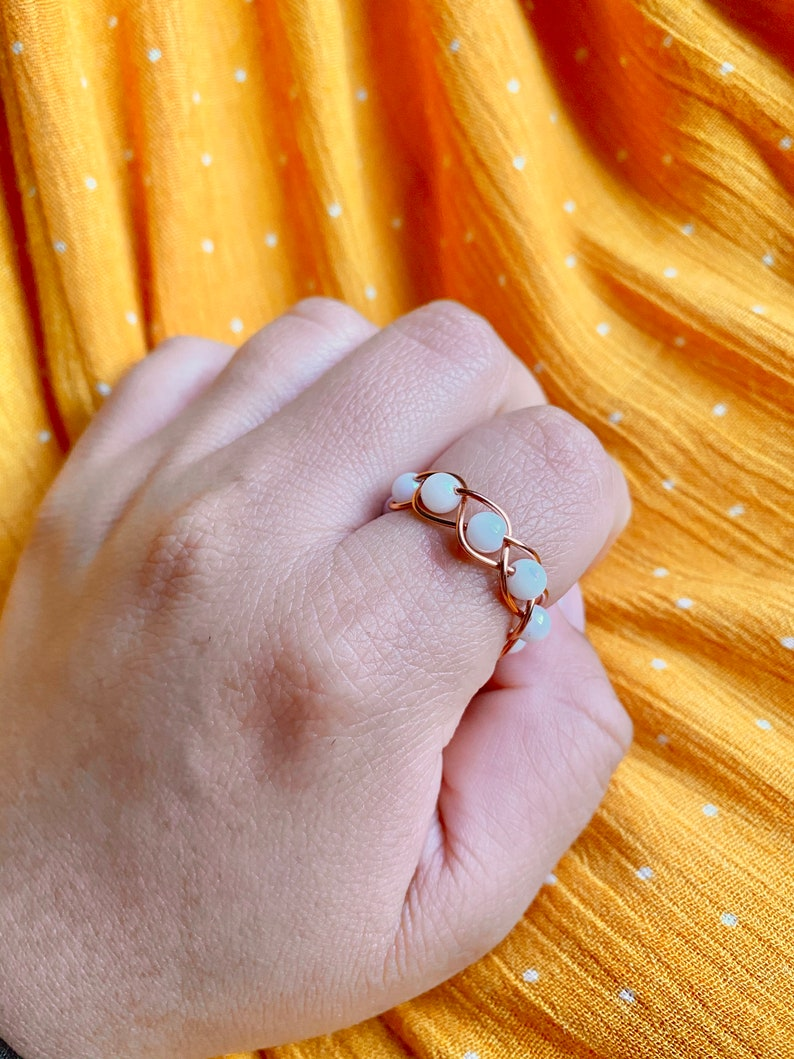 Gold Braided Wire Ring With Glass Beads