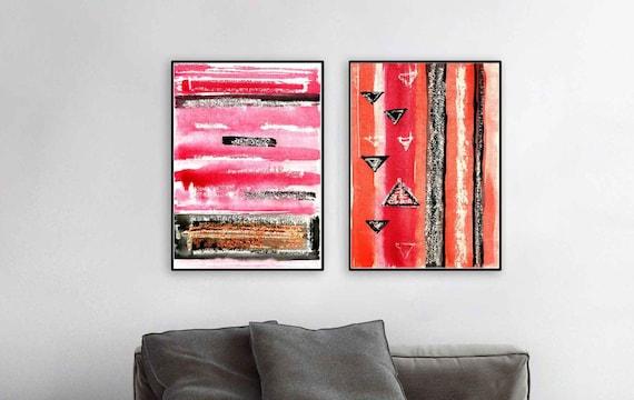 Black Pink Orange Print Set Geometric Modern Wall Art Set Of Etsy