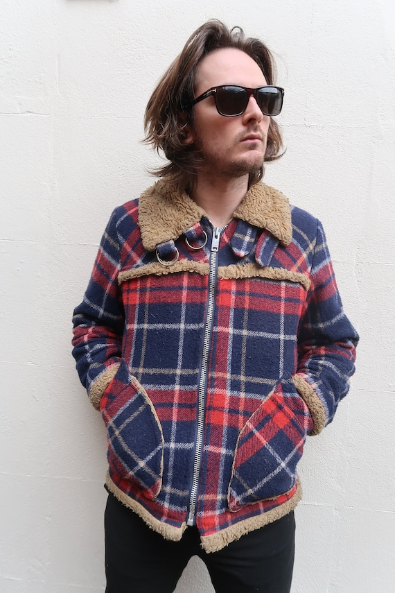 Men/'s Vintage 1950s wool plaid button down red size M neck 15-15.5 hipster style