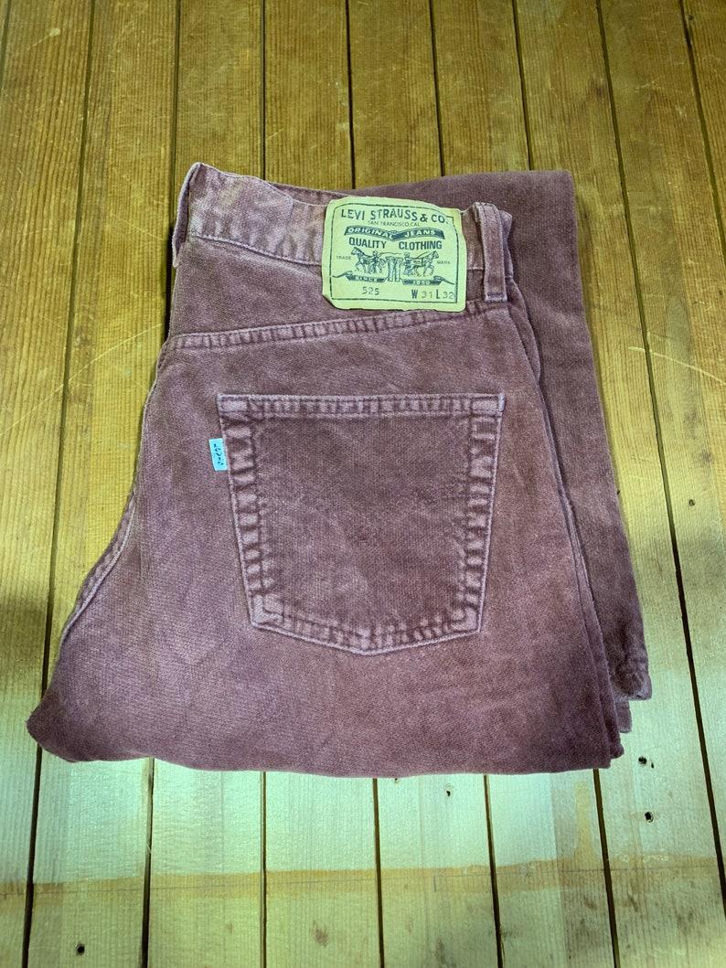 unisex vintage maroon cotton 525 bootcutflare straight leg 31W 32L denim Levi\u2019s trouser