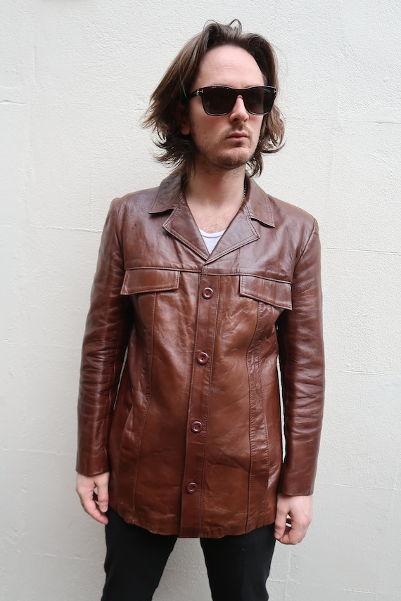 A Men/'s Vintage 70/'s,Brown LEATHER Club DISC0 era Jacket By GENUINE LEATHER.M 40L