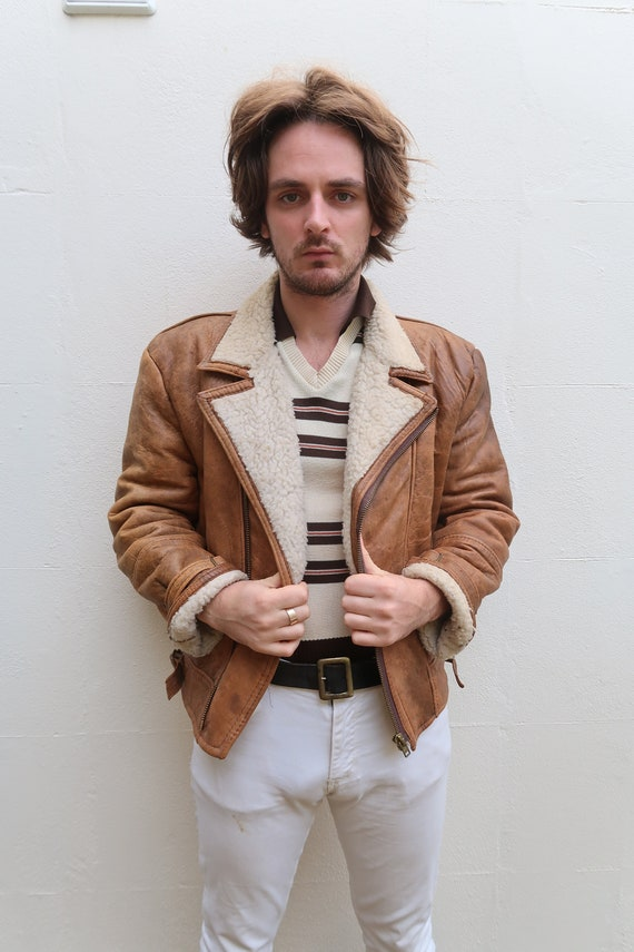 Mens tan brown 80s leather shearling vintage aviat