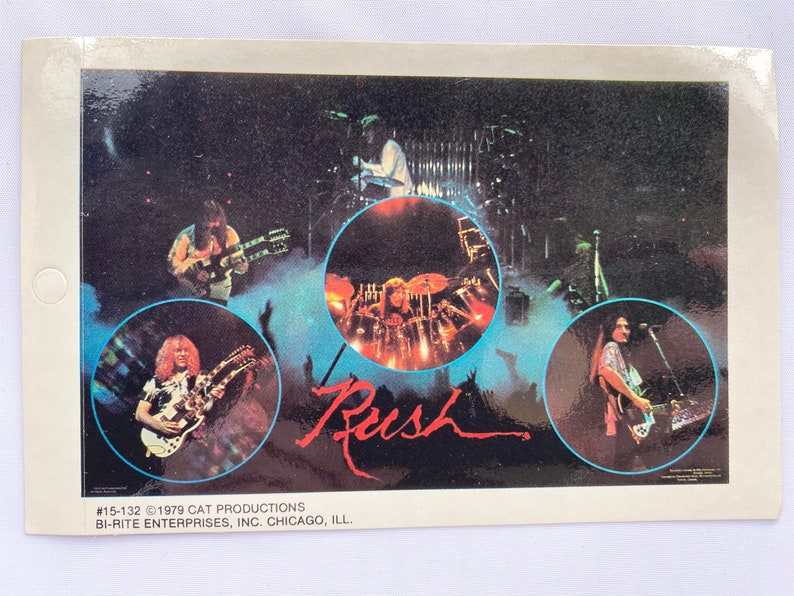 Vintage 80s Rush Band Mini Poster Bumper Sticker Original Collectible Music Gift NOS Never Used Neil Peart Geddy Lee