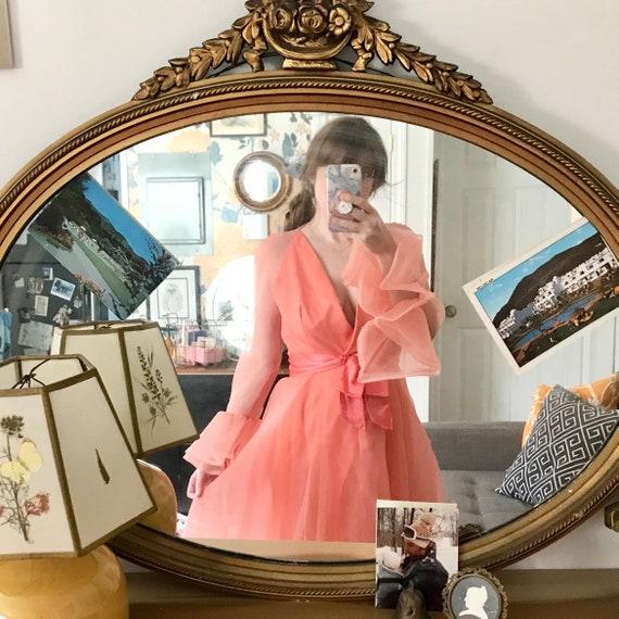 Chiffon Sarmi Gown// Vintage 70s Peach Gown// Size