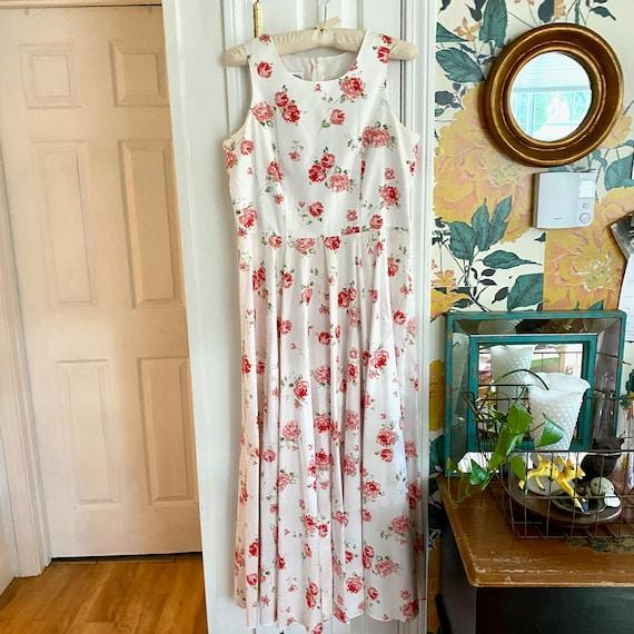 Laura Ashley Cotton Dress // Vintage 90s // Midi … - image 2