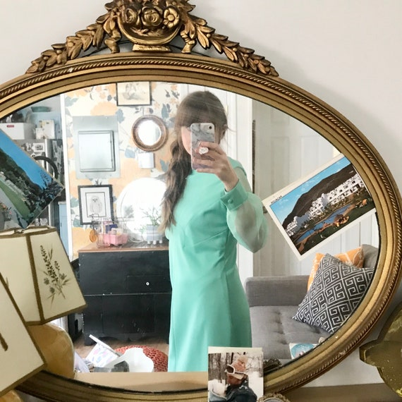 Green Mynette Gown with Sheer Sleeves// Vintage 70