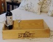 Hacienda Wooden Serving Tray, Ottoman Tray, Wine Box Serving Tray, Hacienda Winery, Repurposed Wine Box, Wood tray, Wooden Home Decor, Wine