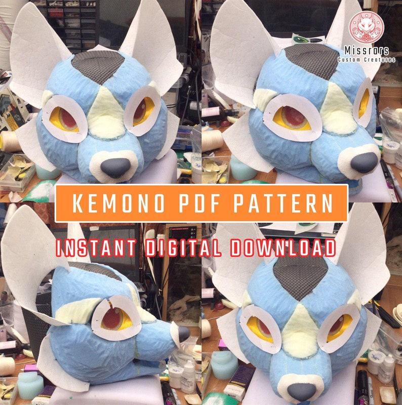 PDF PATTERN Canine Kemono 'K-Fusion' Fursuit Head Base image 0
