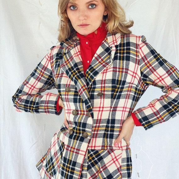 1970s vintage plaid wool overcoat.