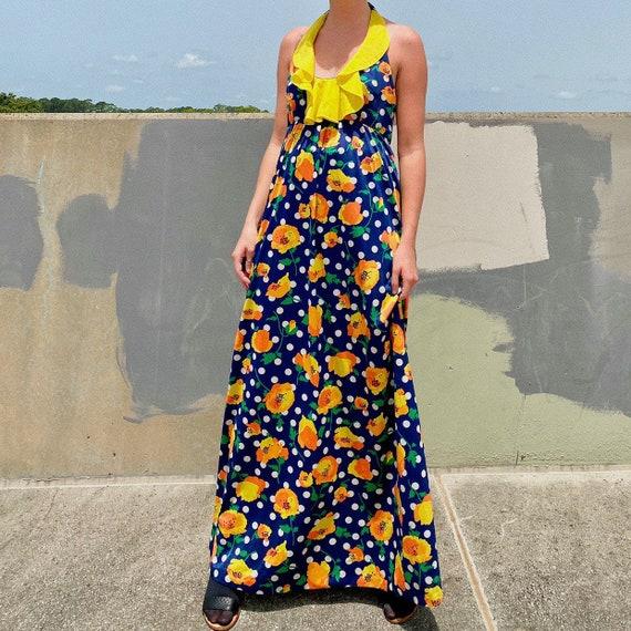 70s Blue Floral Maxi Dress.