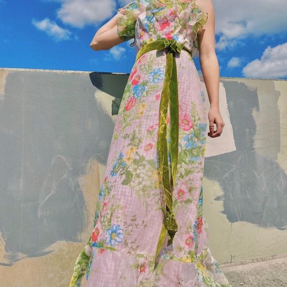 Vintage 70s pink silk floral dress.