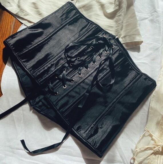 Vintage black noir satin bustier/waist corset.