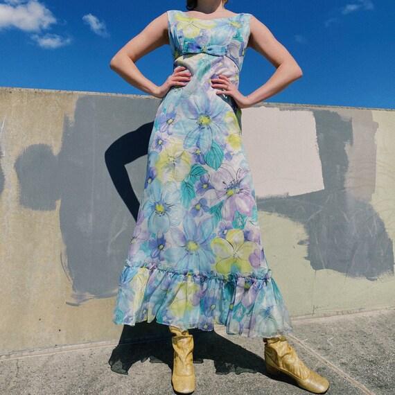60's Blue Floral Maxi Dress.