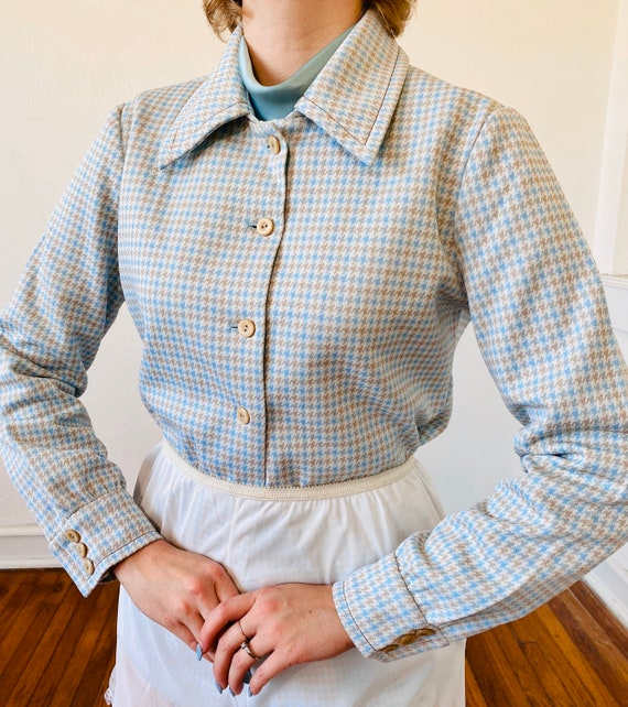 1970's Baby blue houndstooth micro plaid dagger co