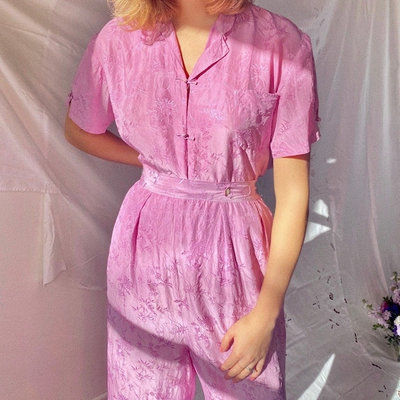 1930s hand dyed lilac Chinese Silk beach pajamas.