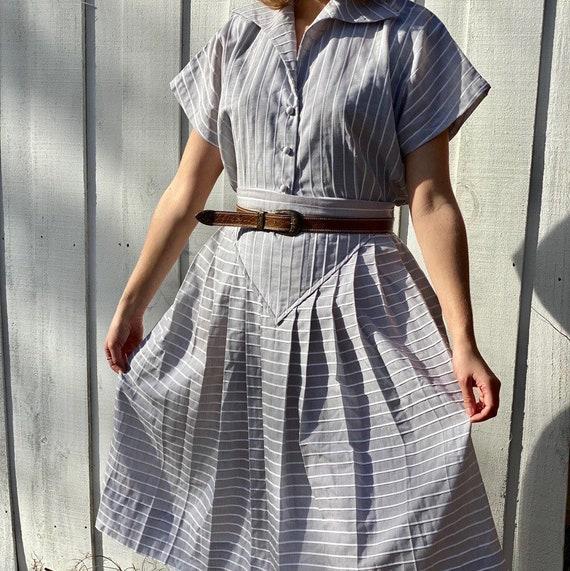 Vintage 1950s patio skirt set in dove gray gauze c