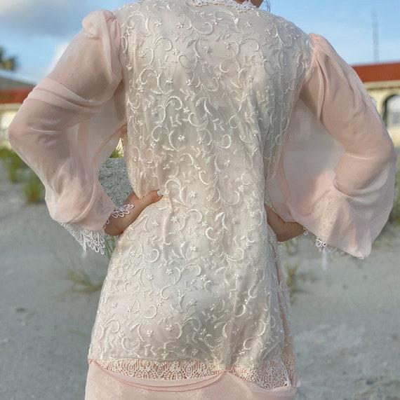 80s pink chiffon white lace dress. - image 3