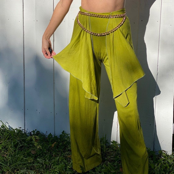 1970s NORMA KAMALI Chartreuse Bell Bottoms.