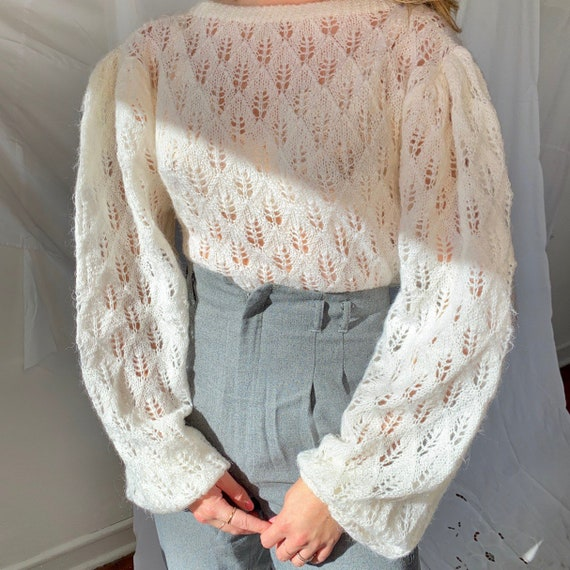 1960s vintage white Mohair eyelet lace knit sweate