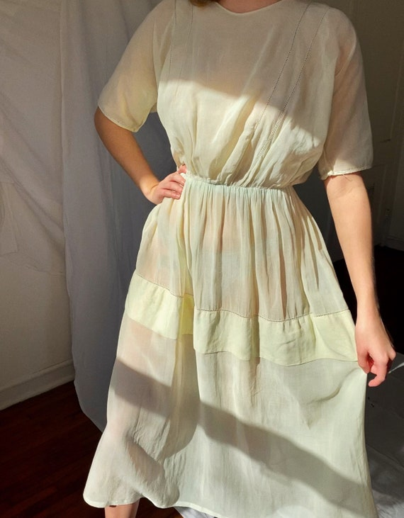 Antique 1930's Sheer organdy dress, in pale green.