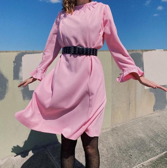 Vintage 60s Pink Crochet Lace Dress.
