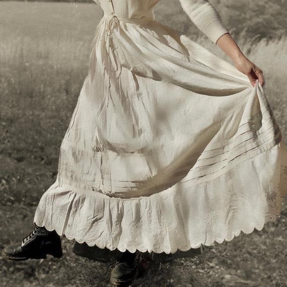 Antique 1910s Edwardian gauze full length skirt.
