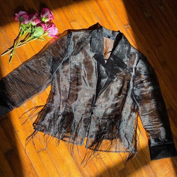 Incredible vintage 90s 100% silk black organza blo