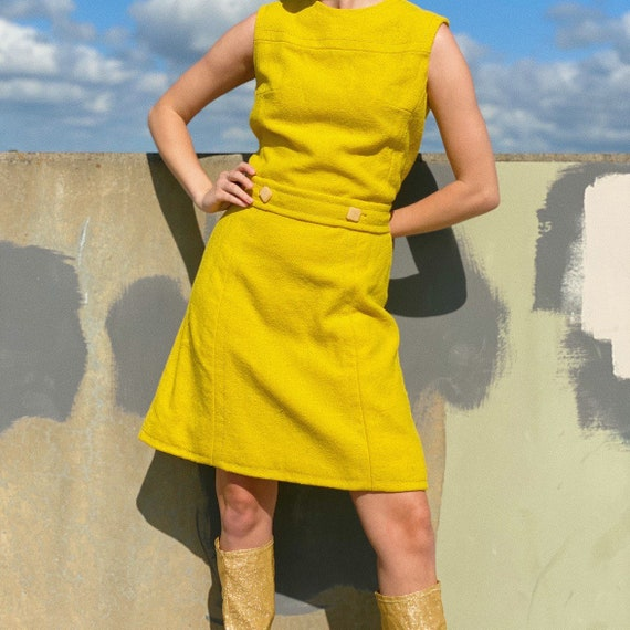 Vintage 60s yellow wool mod dress.