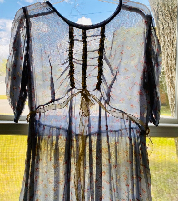 1940's Gauze sheer silk micro floral gray gown wit