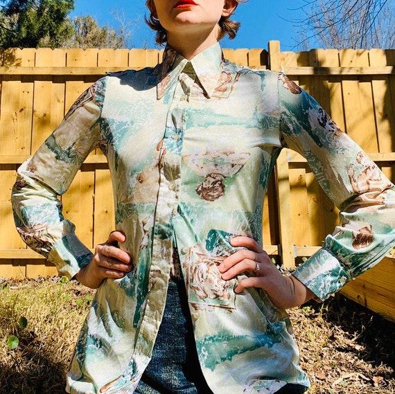 1970's goddess Dagger Collar Puff sleeve blouse &