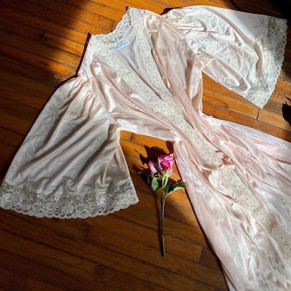 Vintage 70s pink satin bell sleeve robe.