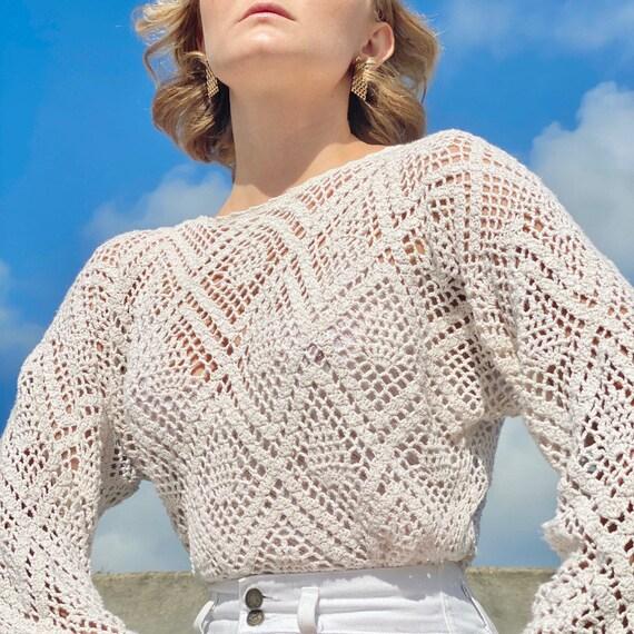 70s cream crochet sweater.