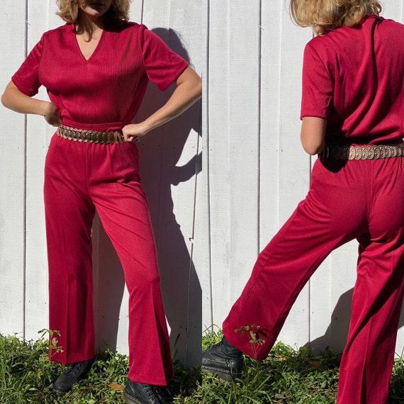 Vintage 70s Burgundy Red Bell bottom set.