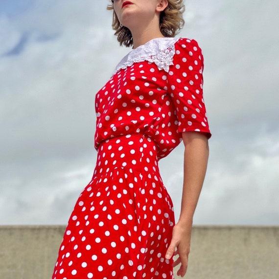 80s red polka dot sailor dress.