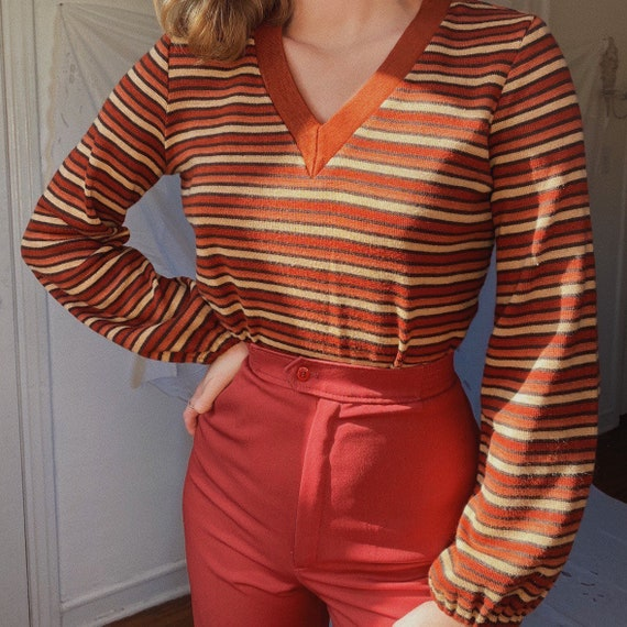 1970s vintage Rust mauve sunset stripe puff sleeve