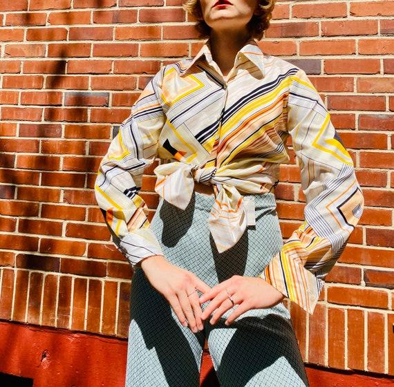 1970's Dagger collar Sak's fifth avenue striped ge