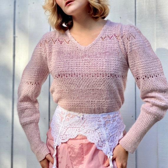 1970s vintage mauve mutton sleeve knit silk + ango