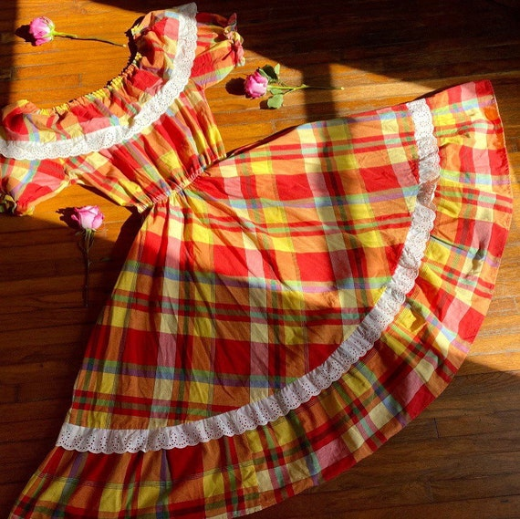 1970s vintage Rainbow plaid cotton prairie dress.