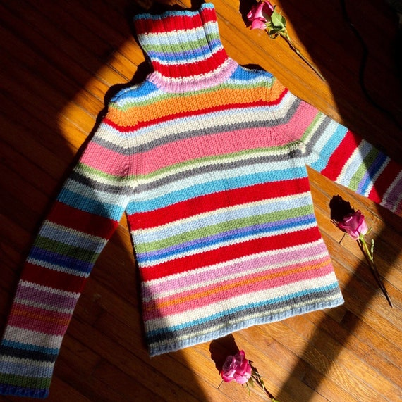 1990s Vintage Rainbow wool turtleneck sweater.