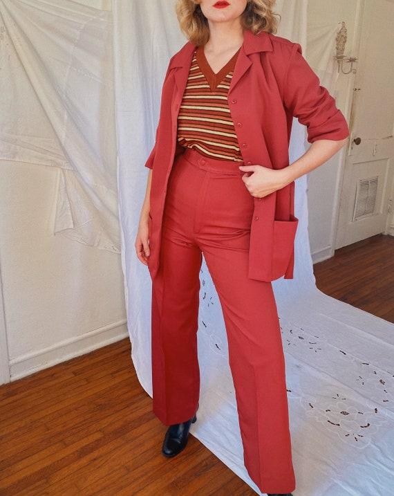 Vintage 1970s burgundy high waist bell bottoms, ja