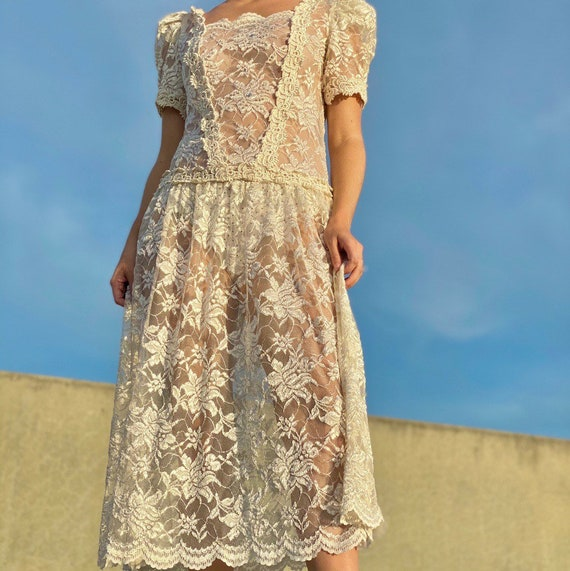 Vintage 70s sheer cream lace dress.