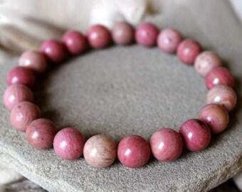 Rhodochrosite Round Beads Stretch Bracelet Natural