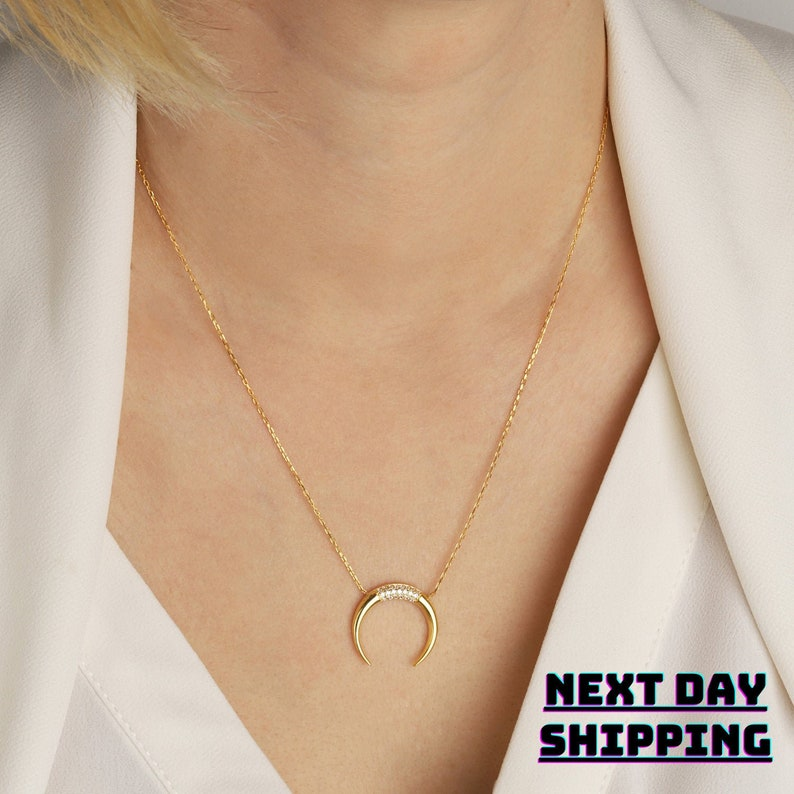 Tusk Necklace  Double Horn Necklace  Gold Horn Necklace  Moon Necklace  Crescent Necklace  Gold Moon Necklace