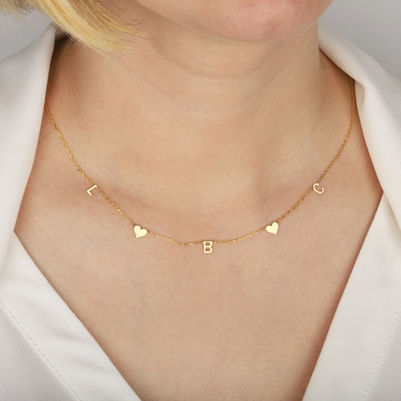 Gold Custom Letter Necklace  Silver Initial Necklace