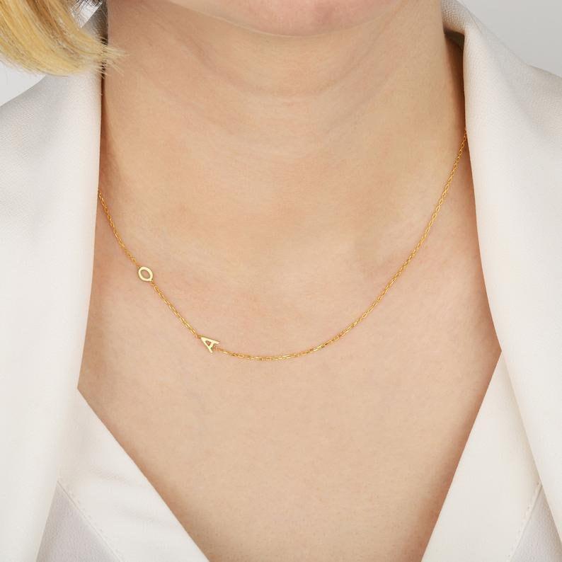 Personalized Monogram Jewelry Gold Personalized Jewelry Gift for her Personalized Gold Necklace 14K Solid Gold Monogram Necklace