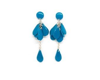 Blue waterfall earrings clay, Comfortable stud earrings, Long dangle chain