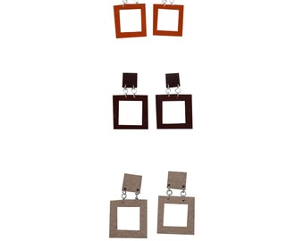 Square Earrings Lightweight Genuine Leather, Oversized Fall Color, Modern Everyday Earrings
