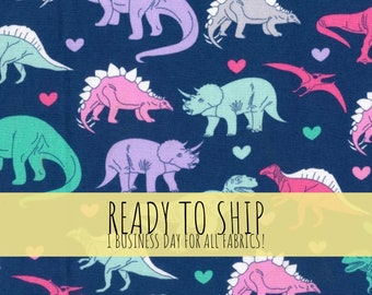 Pretty Dinosaurs Girl Fabric. 100% Cotton. Cut Fabric by the Yard, Washable. Quilters Cotton. Pink Purple.