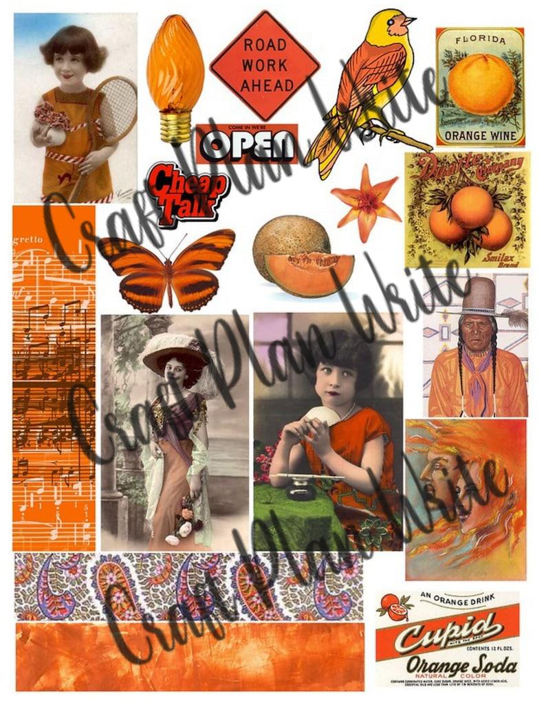 Orange Ephemera #005 Digital Download Fussy Cut