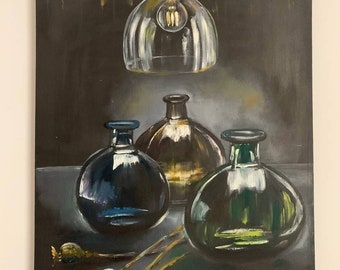 """Oil painting """"Glass and light"""""""